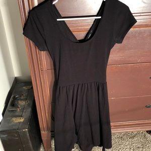 Cross cross back black dress